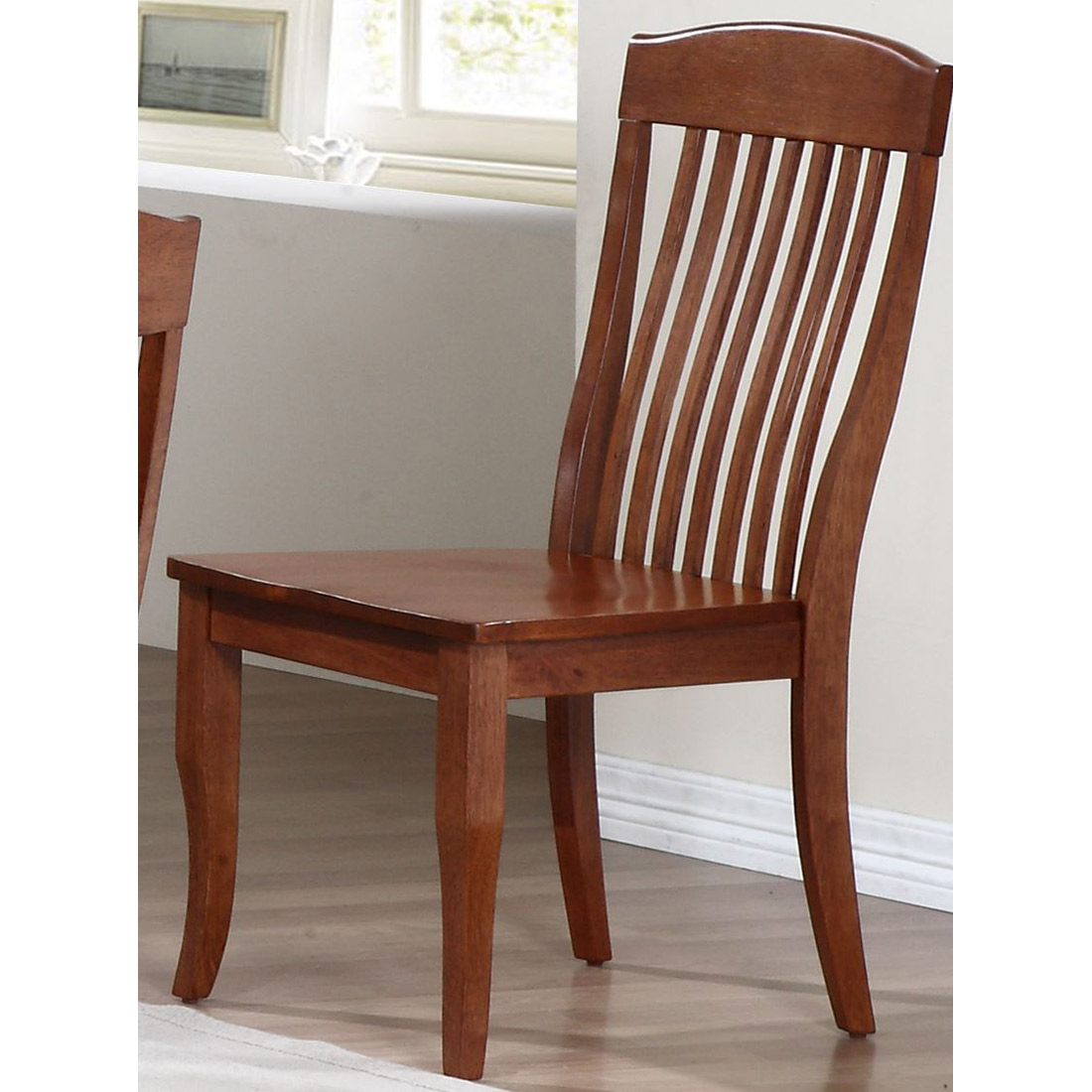 Belga Side Chair - Slat Back, Cinnamon Finish - ICON-CH58-CN-CN