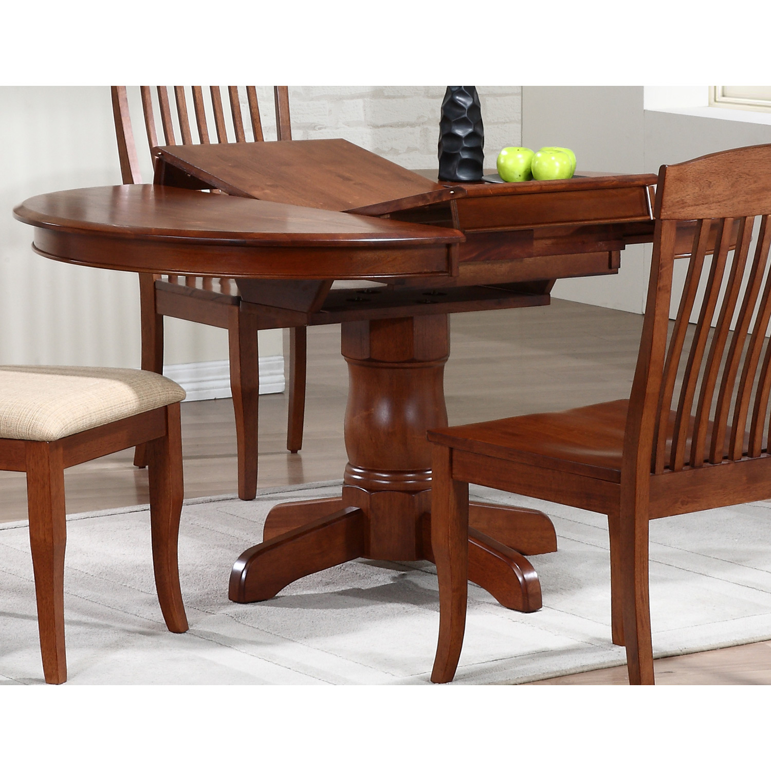Cyrus Extending Dining Table - Round Top, Pedestal Base, Cinnamon - ICON-RD-42-DT-CN