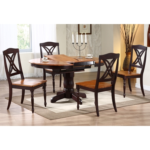 cyrus 5 piece dining set extending table two tone finish dcg stores. Black Bedroom Furniture Sets. Home Design Ideas