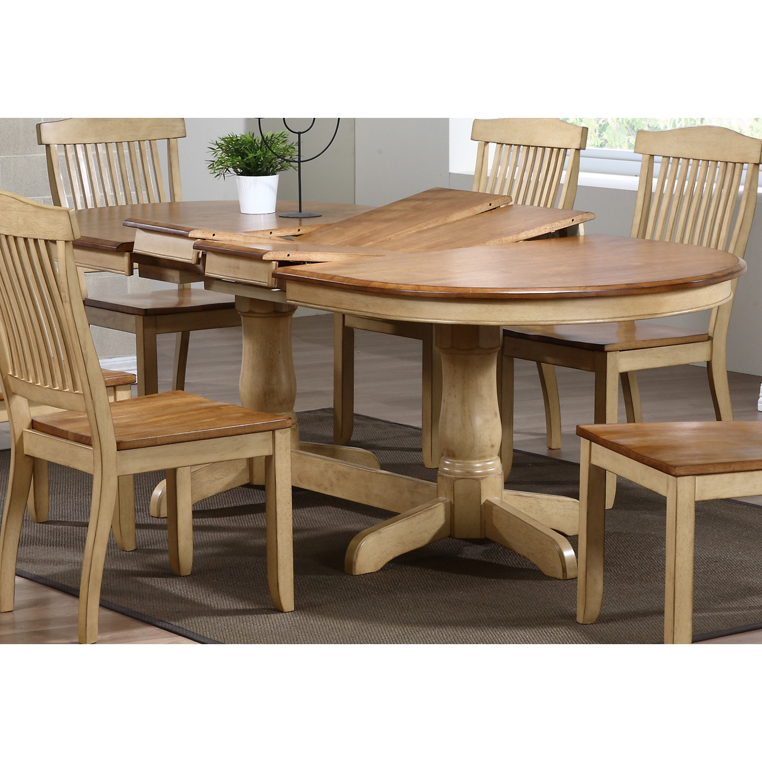 Gatsby Oval Dining Table - Double Butterfly Leaf, Honey & Sand - ICON-OV90-DT-HN-SD