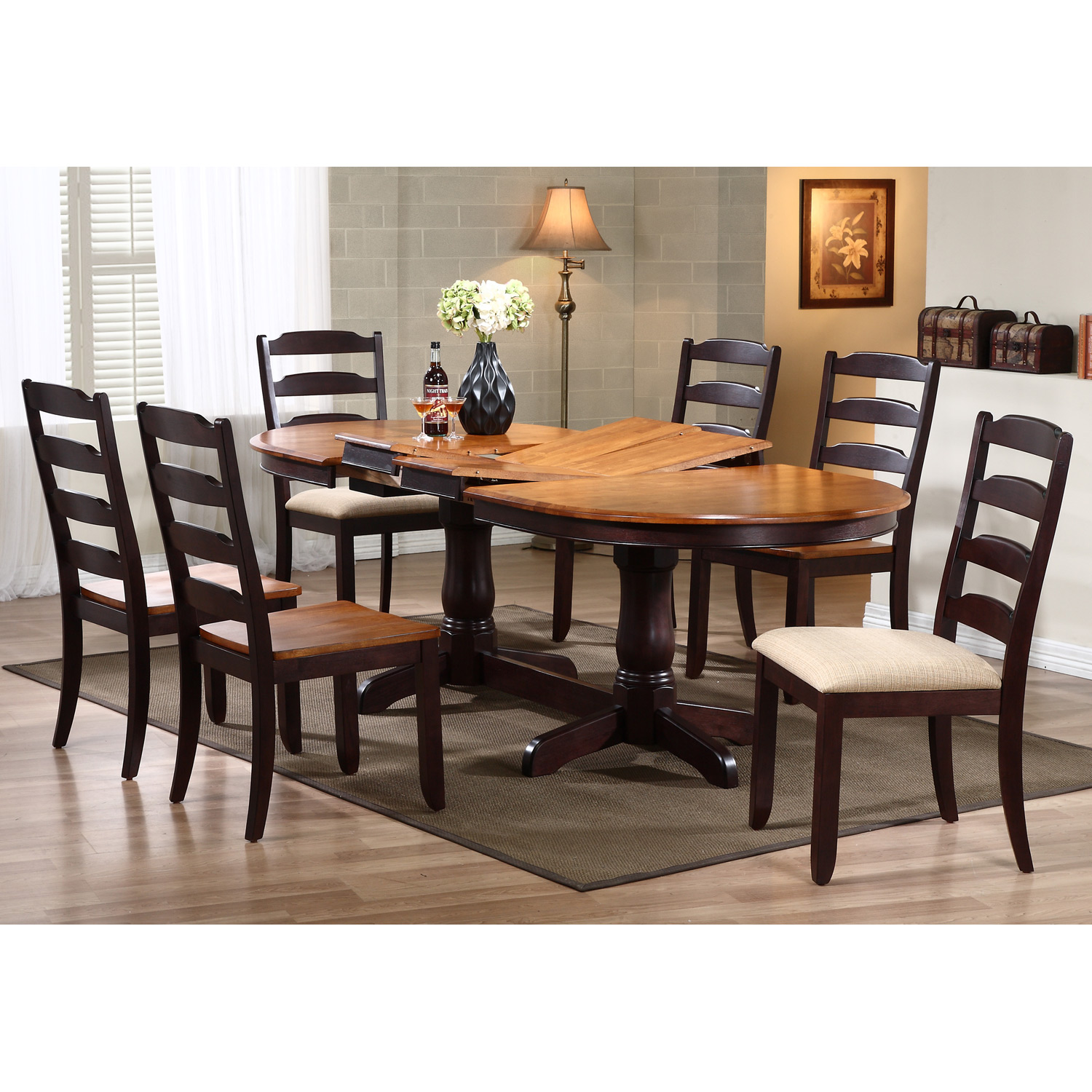 Gatsby 7 Piece Oval Extending Dining Set - Ladder Back Chairs, Mocha ...