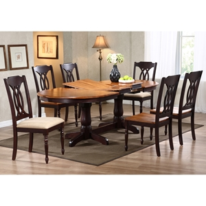 Gatsby 7 Piece Oval Extending Dining Set - Cut-Out Back Chairs, Mocha
