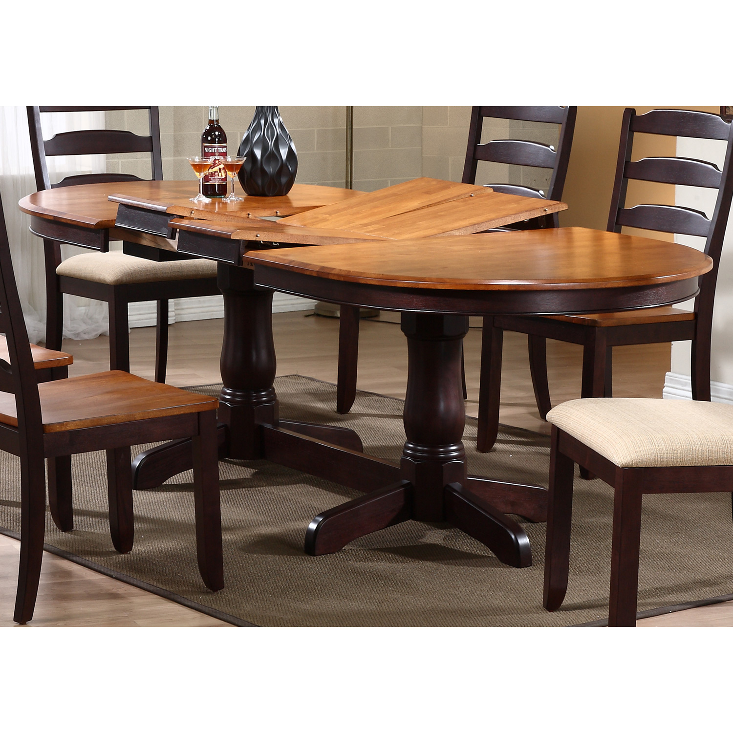 Gatsby 7 piece oval extending dining set ladder back for Oval back dining room chairs