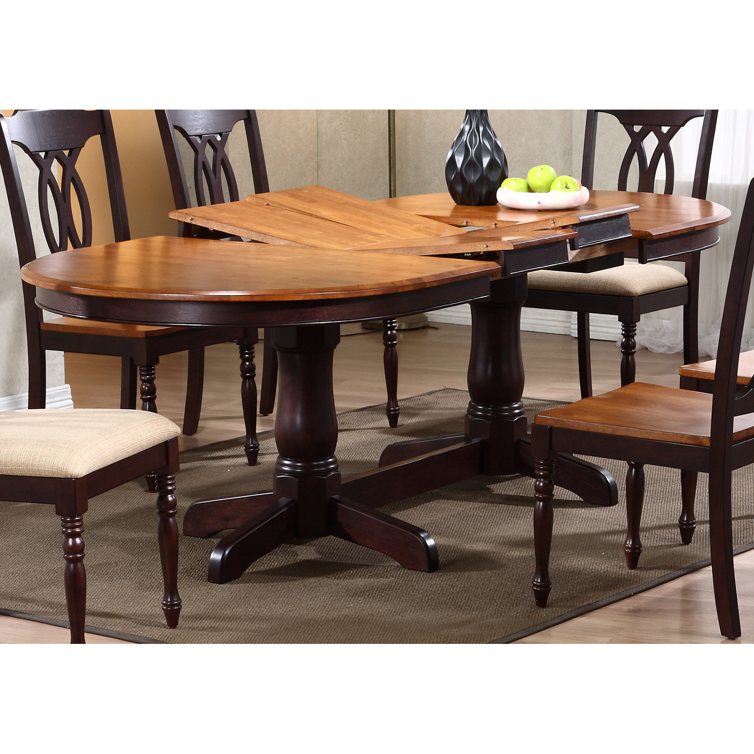Oval Dining Room Table: Double Butterfly Leaf, Whiskey
