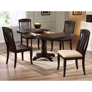 Karenina 5 Piece Extending Dining Set - Slat Back Chairs, Mocha