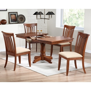 Karenina 5 Piece Extending Dining Set - Fabric Seat Chairs, Cinnamon