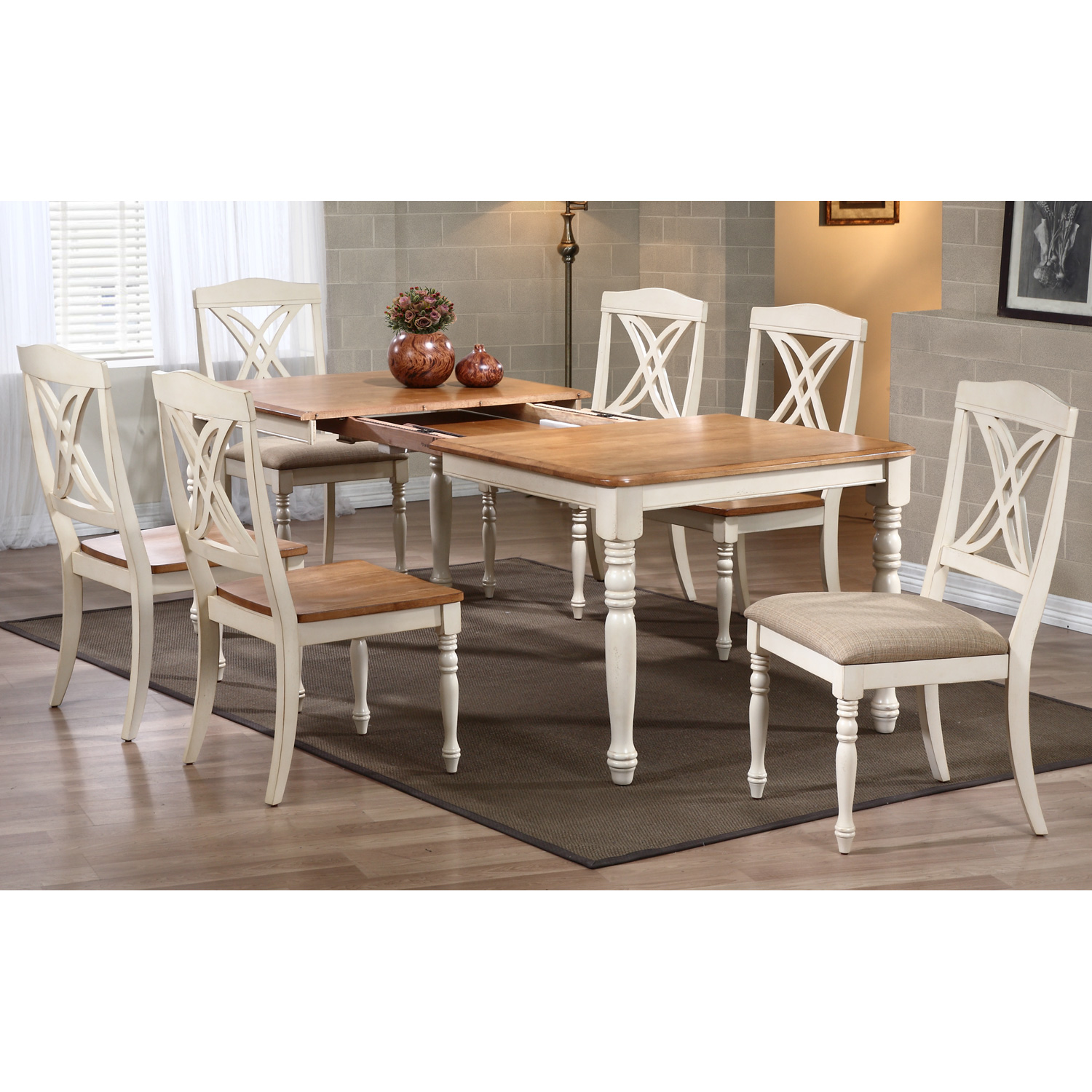 Meredith Extending Dining Table - Turned Legs, Biscotti & Caramel - ICON-RT-78-DT-LG-TU