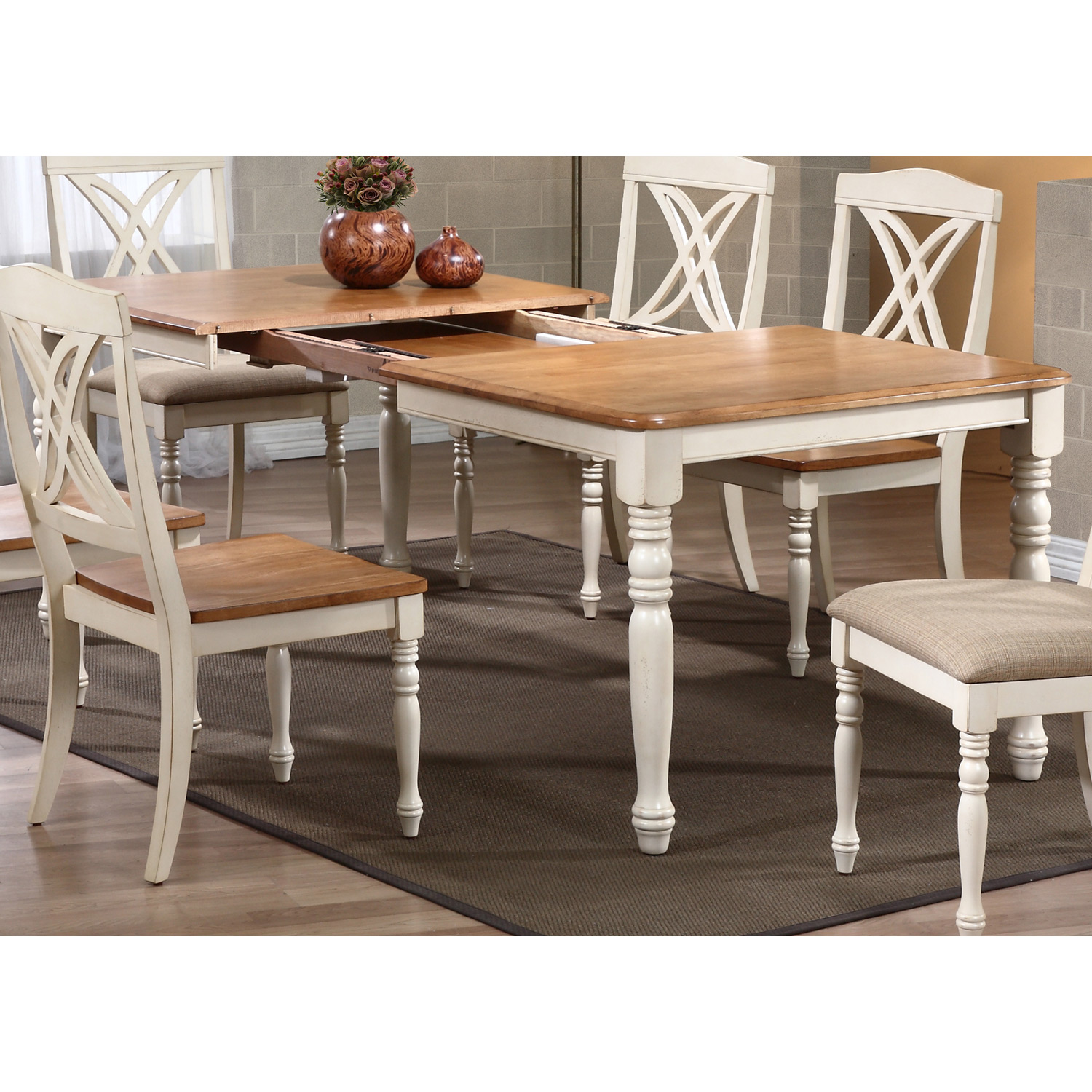 meredith extending dining table  turned legs biscotti