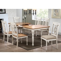 Meredith 7 Piece Extending Dining Set - Cut-Out Back Chairs, Caramel & Biscotti