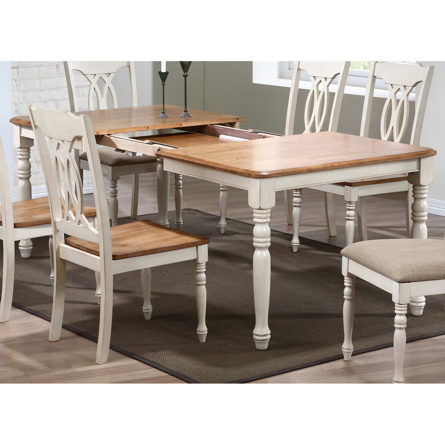 Meredith 7 Piece Extending Dining Set Cut Out Back