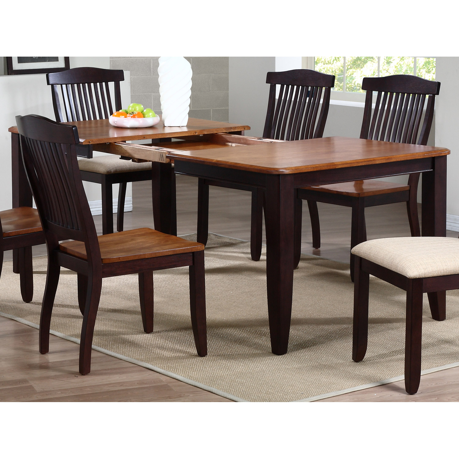 Niro Extending Dining Table - Tapered Legs, Whiskey & Mocha - ICON-RT-78-DT-WY-MA