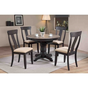 5 Pieces Round Dining Set - Panel Back, Padded Seat, Gray Stone and Black Stone