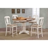 5 Pieces Counter Dining Set - Poleon Back, Padded Seat, Caramel and Biscotti - ICON-RD42-STC53-U-97-CL-BI
