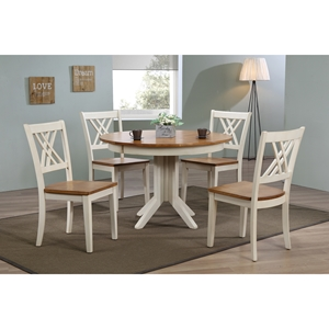 5 Pieces Contemporary Dining Set - Double X-Back, Wood Seat, Caramel and Biscotti