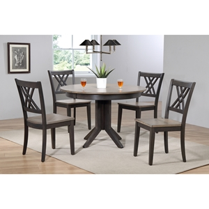 5 Pieces Contemporary Dining Set - Double X-Back, Wood Seat, Gray Stone and Black Stone