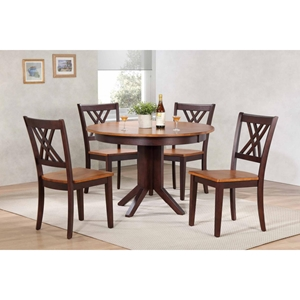5 Pieces Contemporary Dining Set - Double X-Back, Wood Seat, Whiskey and Mocha