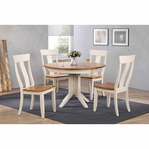 5 Pieces Contemporary Dining Set - Panel Back, Wood Seat, Caramel and Biscotti