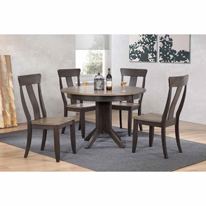 5 Pieces Contemporary Dining Set - Panel Back, Wood Seat, Gray Stone and Black Stone
