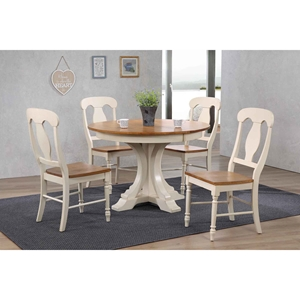 5 Pieces Deco Dining Set - Poleon Back, Wood Seat, Caramel and Biscotti