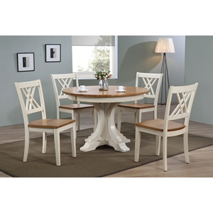 5 Pieces Deco Dining Set - Double X-Back, Wood Seat, Caramel and Biscotti