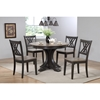 Round Deco Dining Table - Gray Stone and Black Stone - ICON-RD45-GRS-BKS-DECO