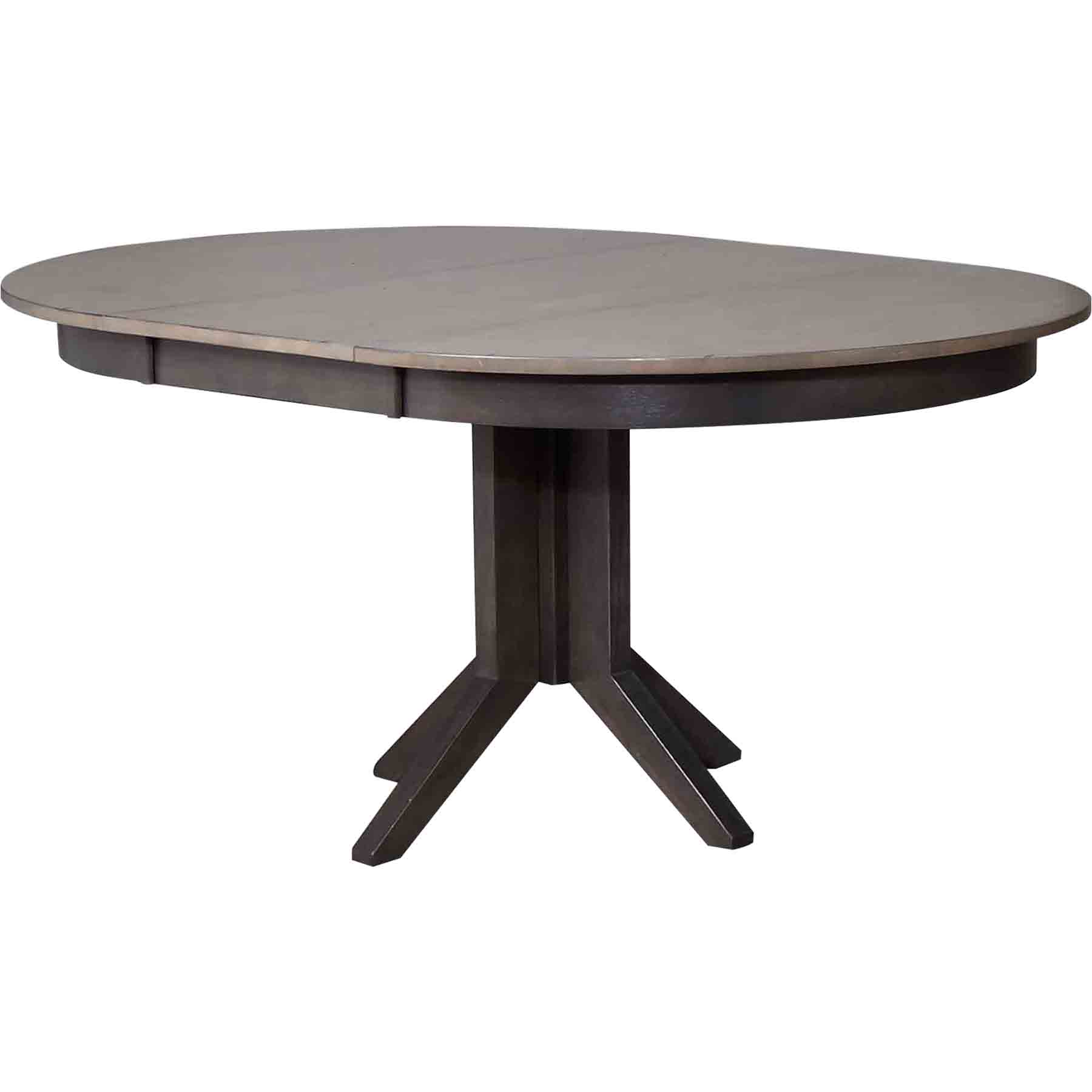 Round contemporary dining table gray stone and black for Contemporary round dining table