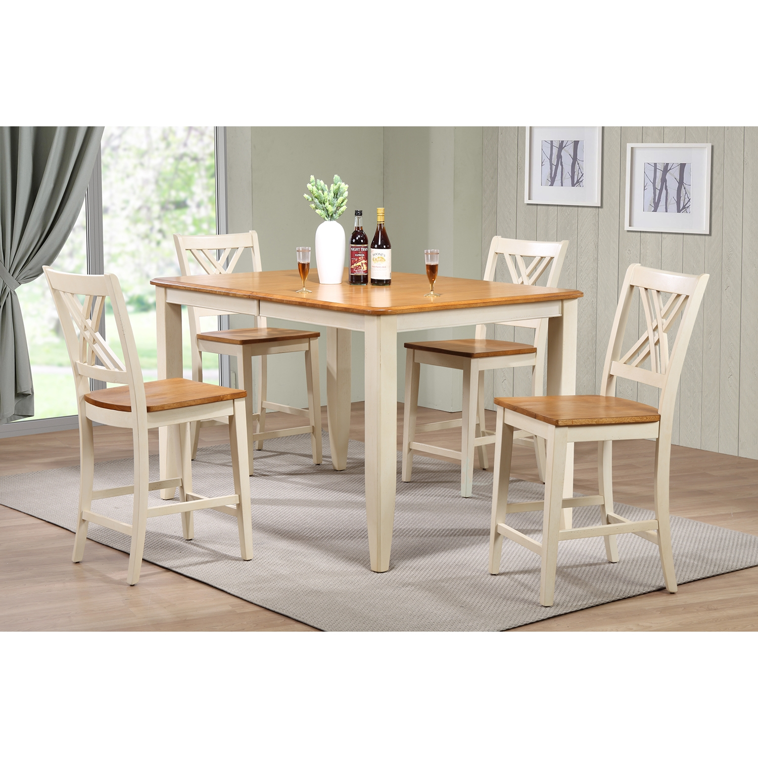 5-Piece Counter Dining Set - Wood Seat, Double X-Back, Caramel and Biscotti - ICON-RT67-CT-CO-STC56-CL-BI