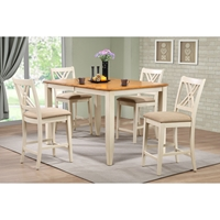 5-Piece Counter Dining Set - Double X-Back, Caramel and Biscotti