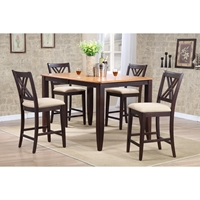 5-Piece Counter Dining Set - Double X-Back, Whiskey and Mocha