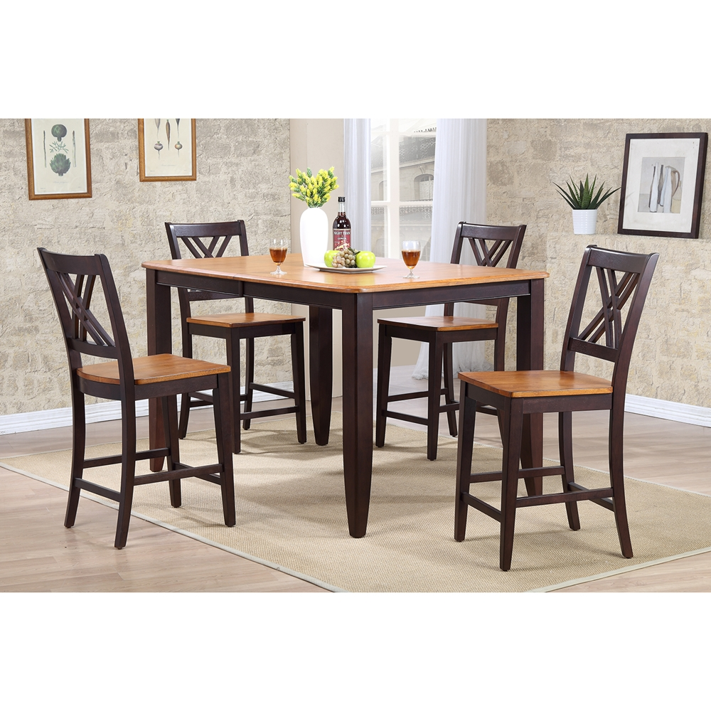 Piece counter dining set wood seat double back