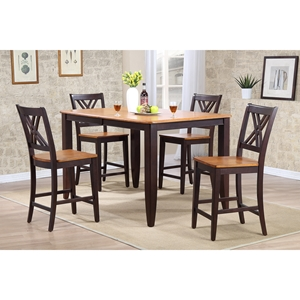 5-Piece Counter Dining Set - Wood Seat, Double X-Back, Whiskey and Mocha