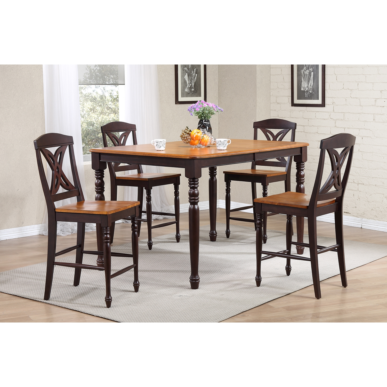 5-Piece Counter Dining Set - Wood Seat, Butterfly Back, Whiskey and Mocha - ICON-RT67-CT-TU-STC50-WY-MA
