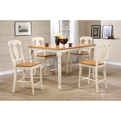 Piece counter dining set wood seat napoleon back