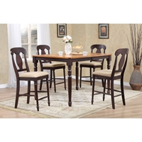5-Piece Counter Dining Set - Napoleon Back, Whiskey and Mocha