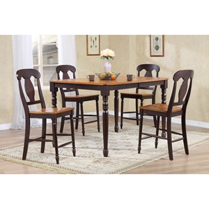 5-Piece Counter Dining Set - Wood Seat, Napoleon Back, Whiskey and Mocha