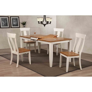 5 Pieces Rectangle Dining Set - Panel Back, Wood Seat, Caramel and Biscotti