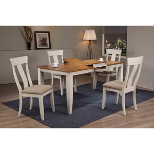 5 Pieces Rectangle Dining Set - Panel Back, Padded Seat, Caramel and Biscotti