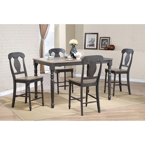 Piece napoleon back counter dining set wood seat gray