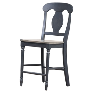 "Napoleon Back 24"" Counter Stool - Gray and Black"