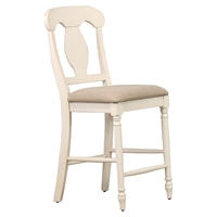 "Napoleon Back 24"" Counter Stool - Upholstered Seat, Biscotti"