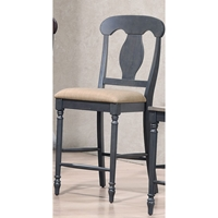 "Napoleon Back 24"" Counter Stool - Upholstered Seat, Black"