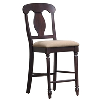 "Napoleon Back 24"" Counter Stool - Upholstered Seat, Mocha"