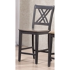 5-Piece Double X-Back Counter Dining Set - Wood Seat, Gray and Black - ICON-RT78-CT-CO-STC56-GRS-BKS