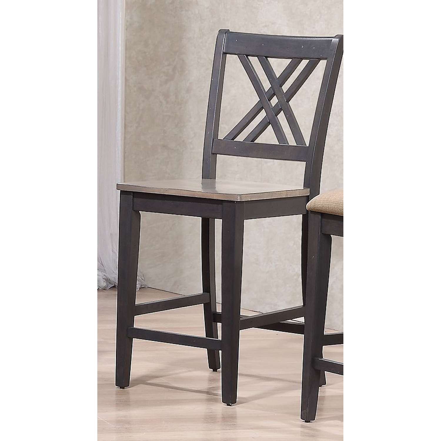 "Double X-Back 24"" Counter Stool - Gray and Black - ICON-STC56-GRS-BKS"