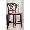 5-Piece Counter Dining Set - Wood Seat, Double X-Back, Whiskey and Mocha - ICON-RT67-CT-CO-STC56-WY-MA