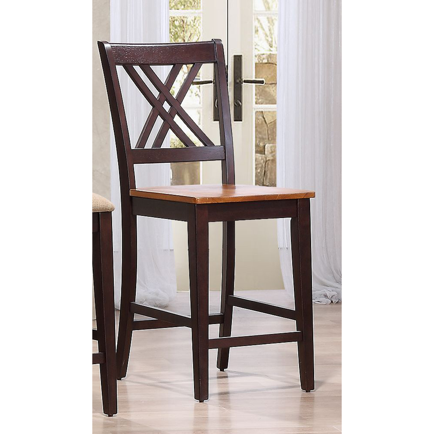 "Double X-Back 24"" Counter Stool - Whiskey and Mocha - ICON-STC56-WY-MA"