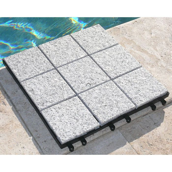 Jointstone Granite Interlocking Deck Tile in Bright Gray (Set of 10)