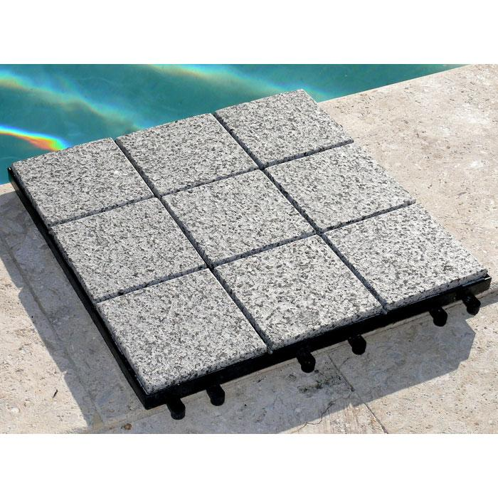Jointstone Granite Interlocking Deck Tile in Dark Grey (Set of 10)