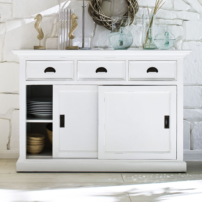 Halifax White Mahogany Buffet With 3 Drawers Dcg Stores