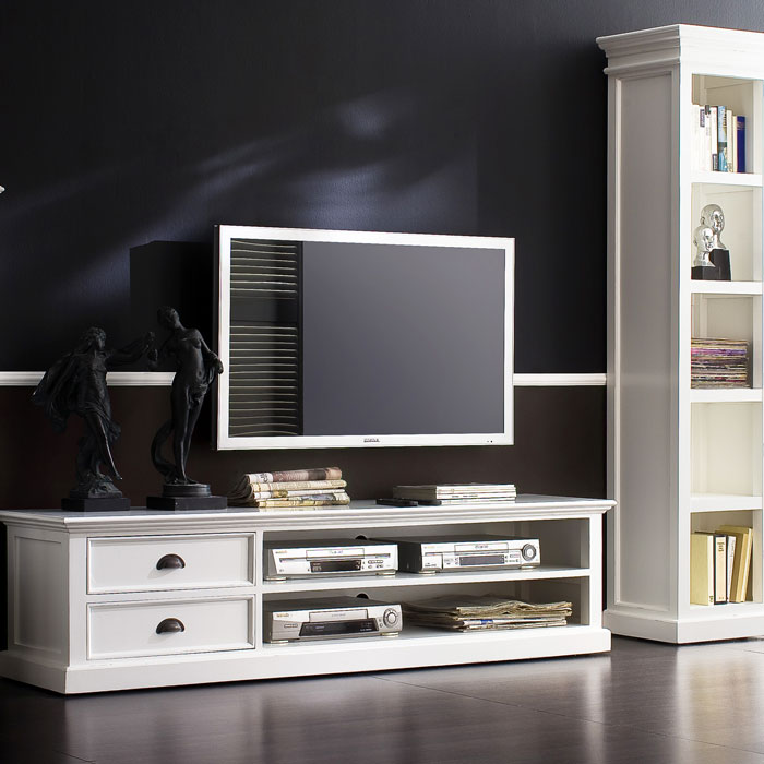 Halifax White Mahogany Tv Console With 2 Drawers Dcg Stores
